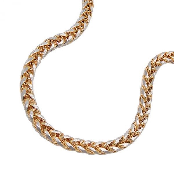 Collier, 45cm, Zopfkette, bicolor, 14Kt GOLD