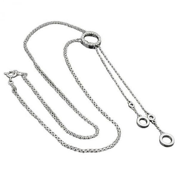 Collier Y-Kette rhodiniert Silber 925 45cm