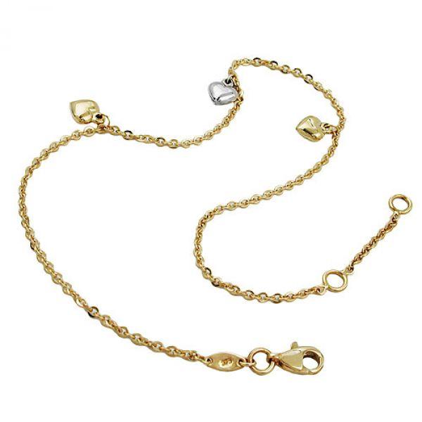 Fußkette, Anker mit 3 Herzen, 9Kt GOLD 25cm