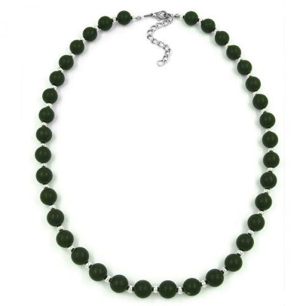 Kette, 10er Perle, oliv-silber, matt