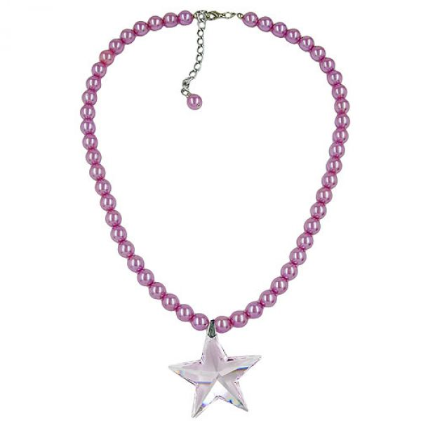 Kette, Glas, Perle rosa, Stern rosa