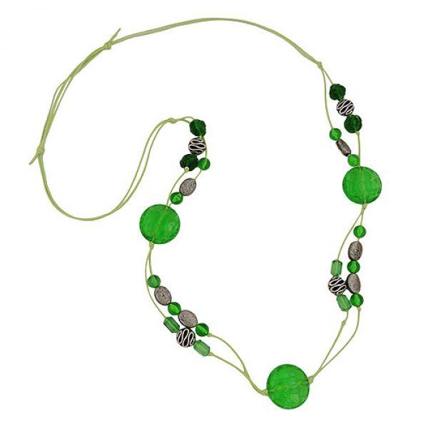 Kette, Kroko-Perle grün-transparent