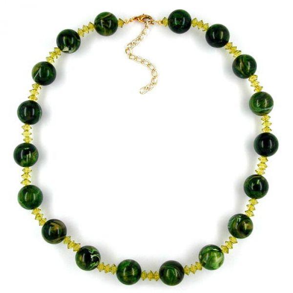 Kette, Perle grün-marmoriert, oliv