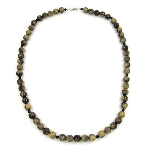 Kette, Perlen oliv-marmoriert