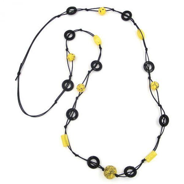 Kette, Perlenkette gelb Fäden schwarz