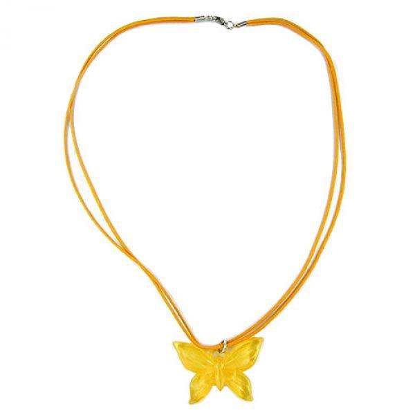 Kette, Schmetterling gelb-transparent