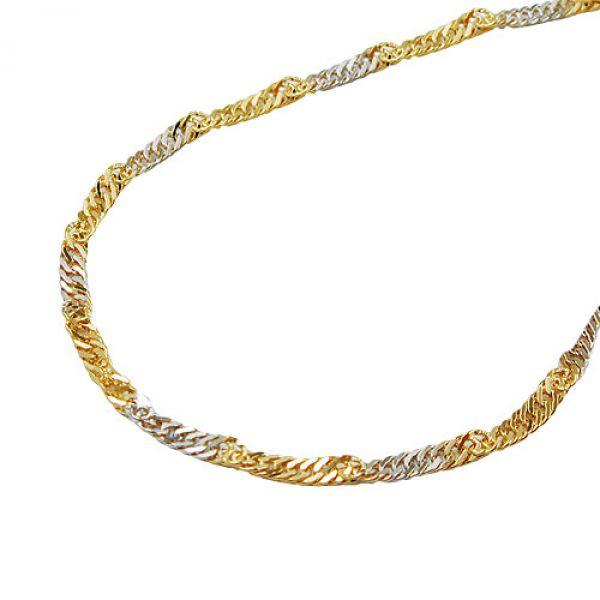 Kette, 50cm, Singapur bicolor, 9Kt GOLD