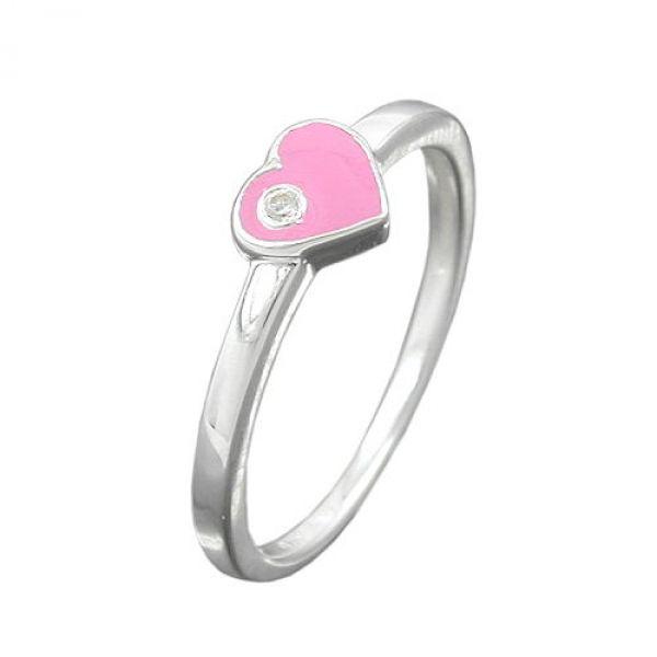Kinderring Herz-pink Zirkonia Silber 925