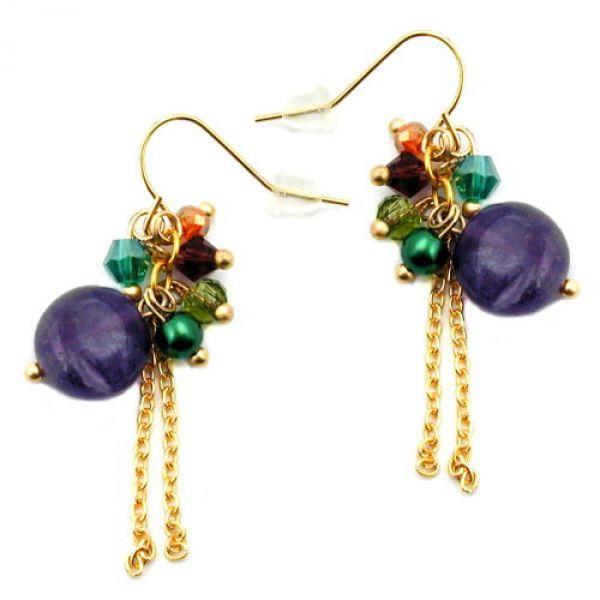 Ohrhaken, viele farbige Perlen