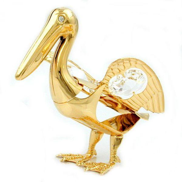 Pelikan mit Glas-Steinen