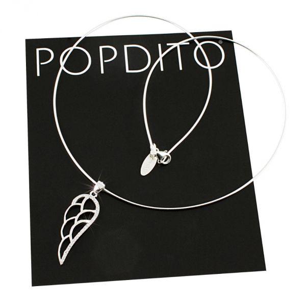 POPDITO Collier Flügel 925 silber mit Zirconia 45cm