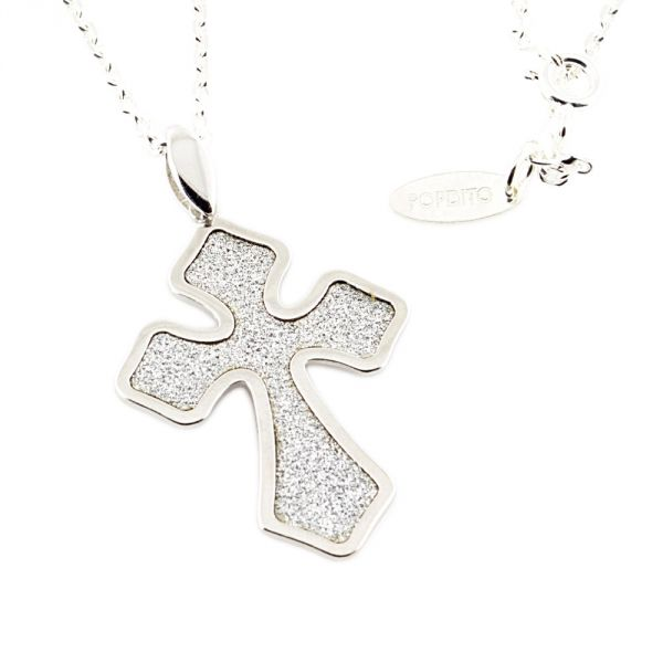 POPDITO Collier Kreuz silber 925 diamond cut ...