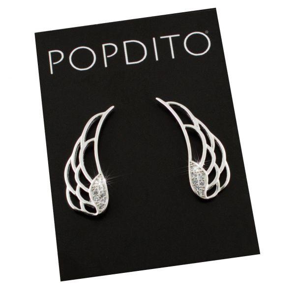 POPDITO Ohrstecker Flügel 925 silber mit Zirconia