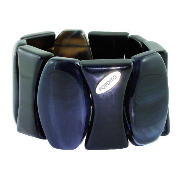 POPDITO Sardonyx OXO Armband blau - grau 19 cm