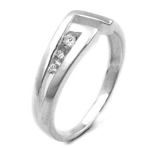 Ring, 7mm mit 3 Zirkonias, Silber 925
