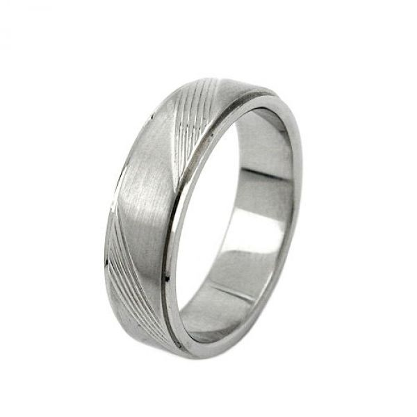Ring, Edelstahl, Streifen schräg