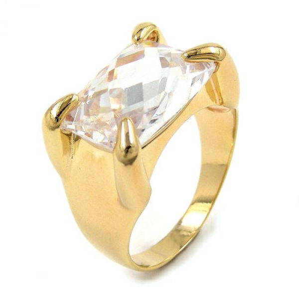 Ring, gold-plattiert, Zirkonia
