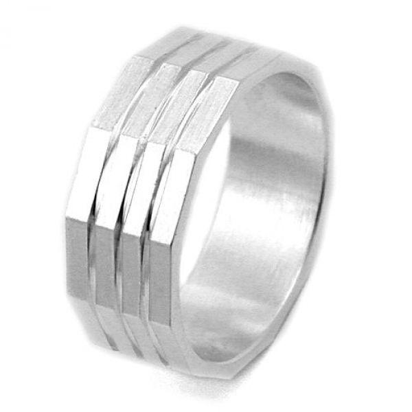 Ring, kantig matt, 3 diam Linien, 925