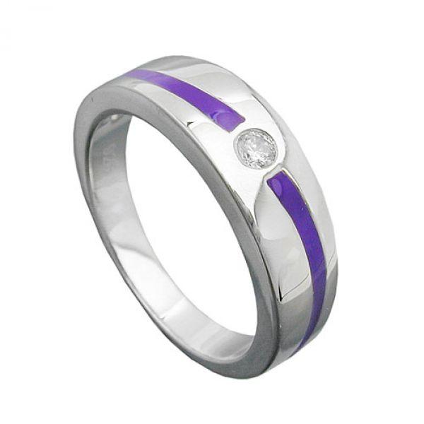 Ring, lila, mit Zirkonia, Silber 925