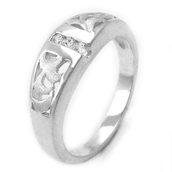 Ring, matt-glzd, mit 3x CZ, 925