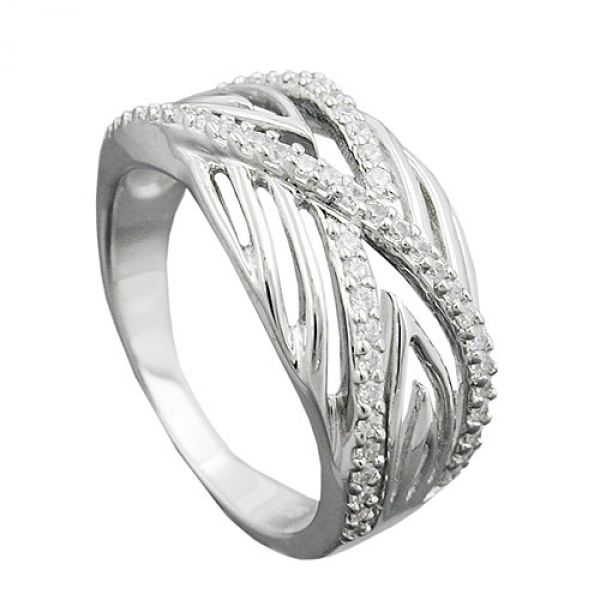 Ring, mit vielen Zirkonias, Silber 925