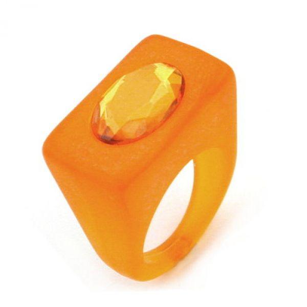 Ring, Vollplastik, orange-transparent