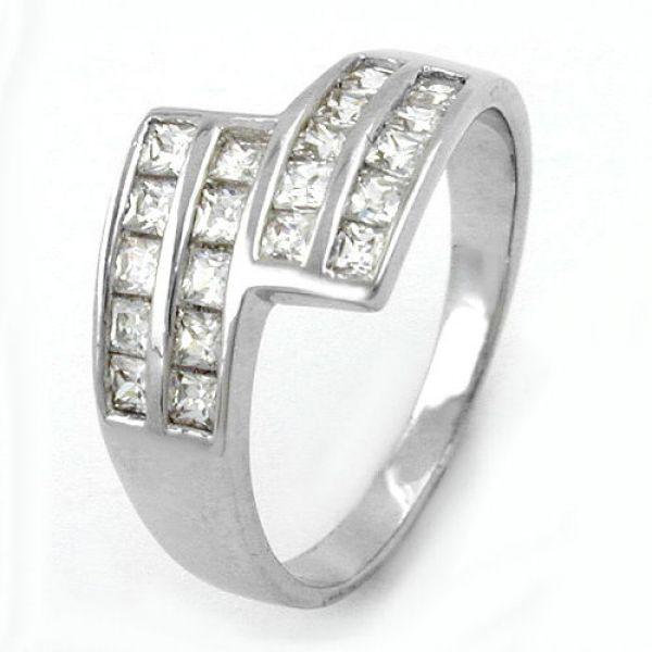 Ring, Zirkonias, rhodiniert, Silber 925