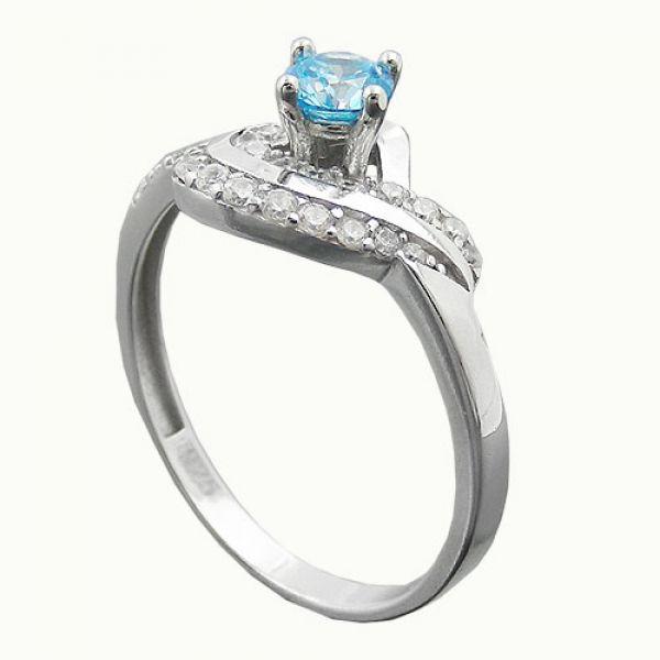 Ring, Zirkonias aqua/weiß, Silber 925