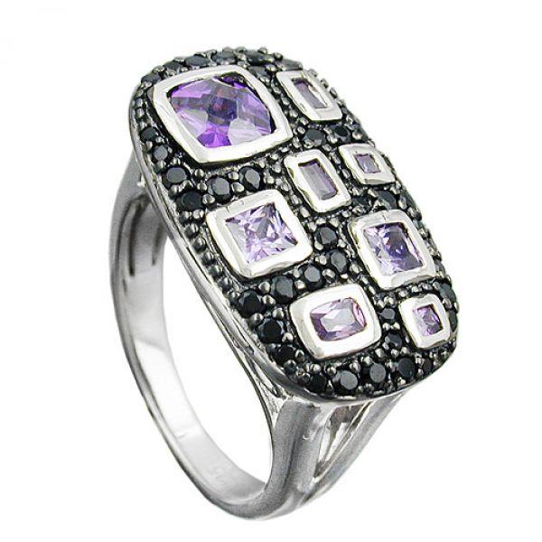 schmuck juweliere ring zirkonias lila schwarz silber 925. Black Bedroom Furniture Sets. Home Design Ideas