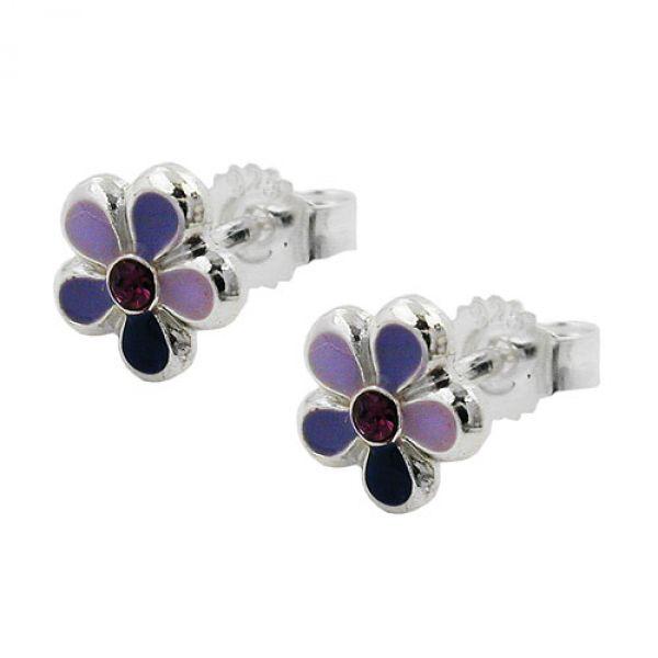 Stecker, Blume lila-lackiert Silber 925