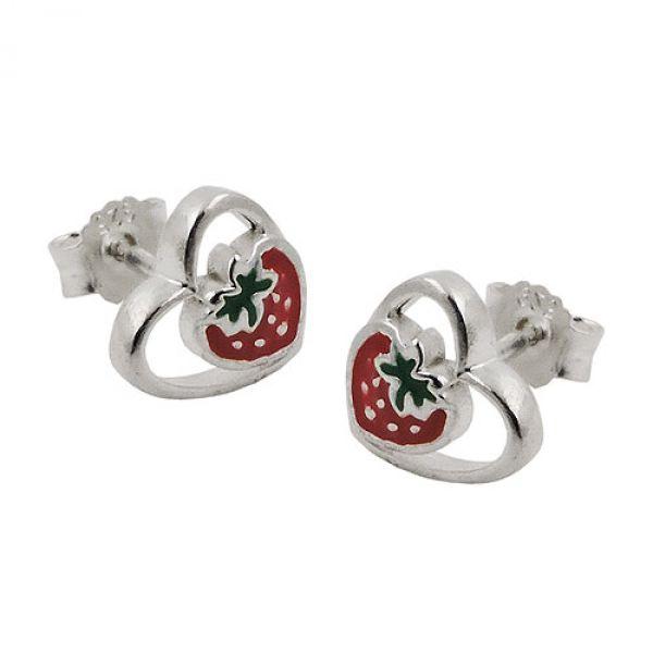Stecker, Erdbeere im Herz, Silber 925