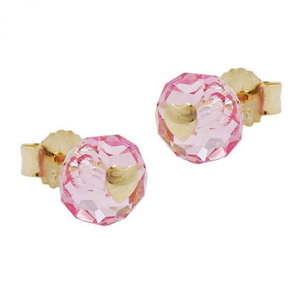 Stecker, Glas-rosa-pink Herz 14Kt GOLD
