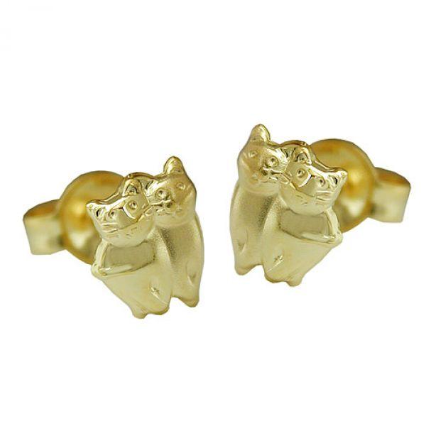 Stecker, Katzen matt-glänzend, 9Kt GOLD