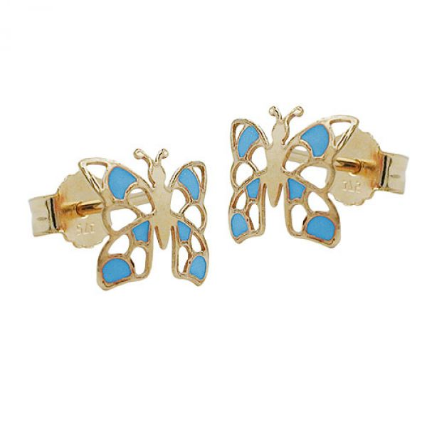 Stecker, Schmetterling blau, 9Kt GOLD
