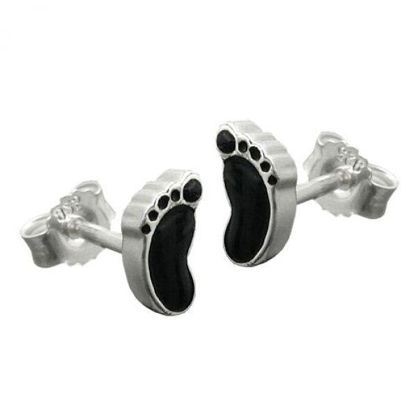 Stecker, schwarze Füße, Silber 925
