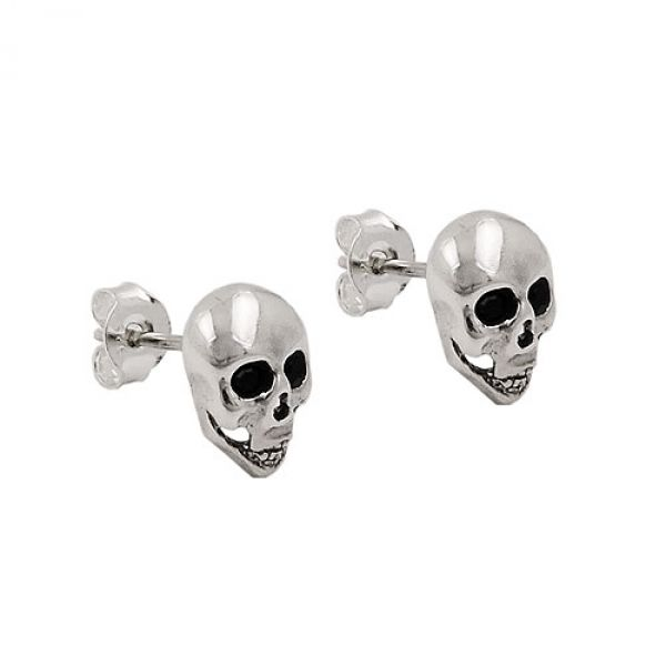 Stecker, Totenkopf, glänzend, Silber 925