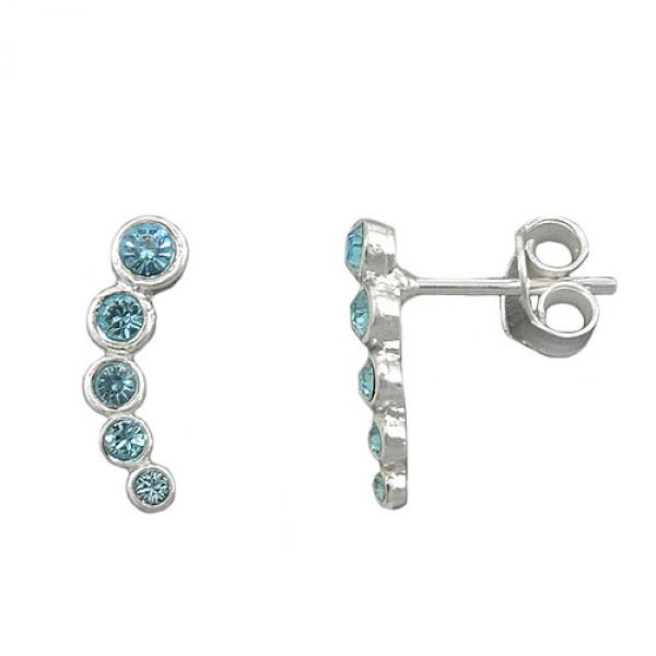 Stecker, 5 Glas-Steine blau, Silber 925