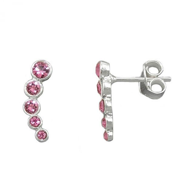 Stecker, 5 Glas-Steine pink, Silber 925