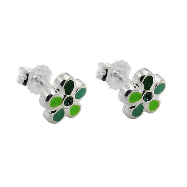 Stecker, Blume grün-lackiert Silber 925
