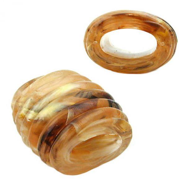 Tuchperle, Spirale horn-gelb-braun