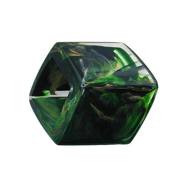 Tuchring, Sechseck grün-marmoriert-glzd