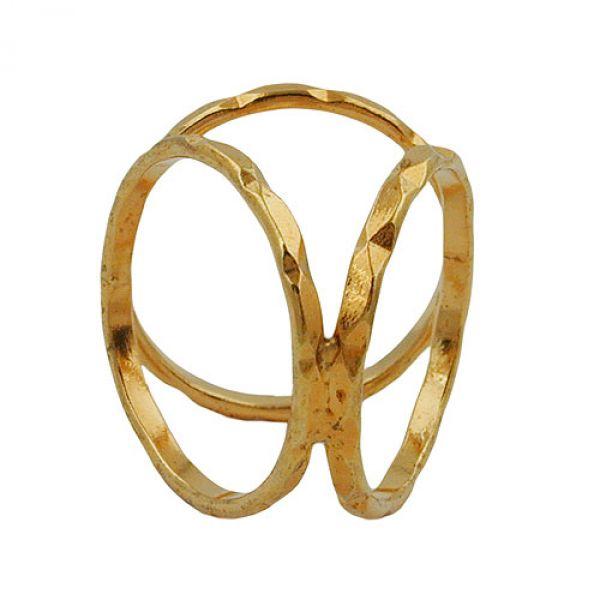 Tuchring, vergoldet, 3 Ringe mit Muster