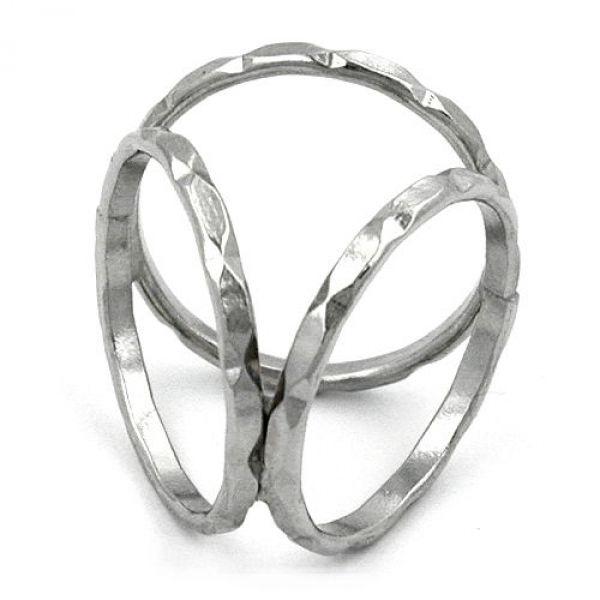Tuchring, weiß-bronze, 3 Ringe