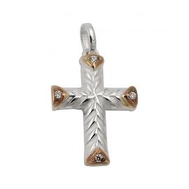pendant, cross with zirconia, silver 925