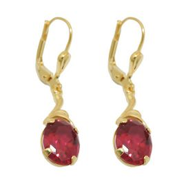 earrings synthetic ruby 8k gold