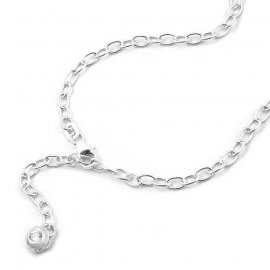 ankle chain, zirconia tag, silver 925 25cm