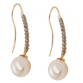 EARRINGS HOOKS, PEARL/ZIRCONIAS, 9K GOLD [Jewellery] DEcus Nobilis