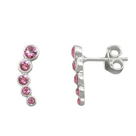 earrings 5 glasstones pink silver 925